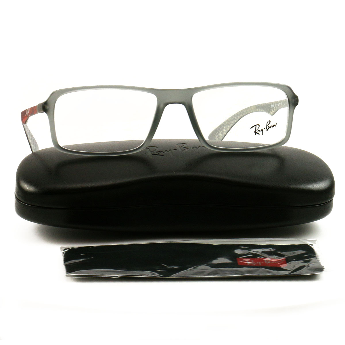 a6d9764443 New Ray Ban Eyeglasses RX 8902-5481 Clear Gray Red Orange Acetate 54 17 145