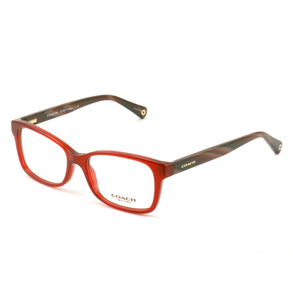 822d42257f COACH 6047 5206 Eyeglasses Milky Burgundy Burgundy Horn 51 16 135 Demo Lens
