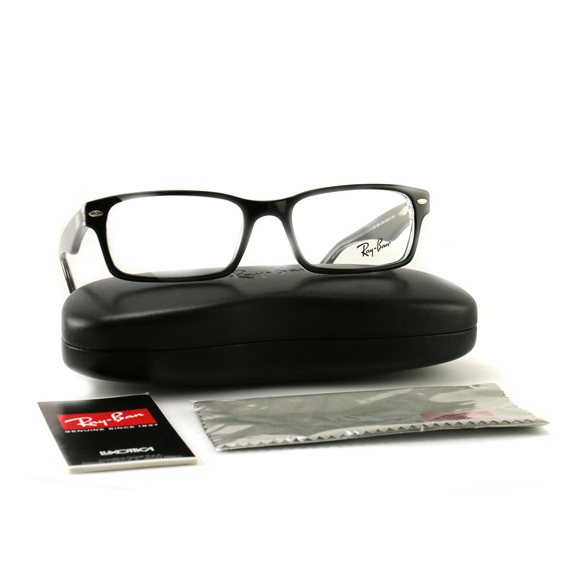 5e80f13da02 Details about RayBan Eyeglasses RX5206 2034 Top Black on Crystal Plastic Rectangle  54 18 145