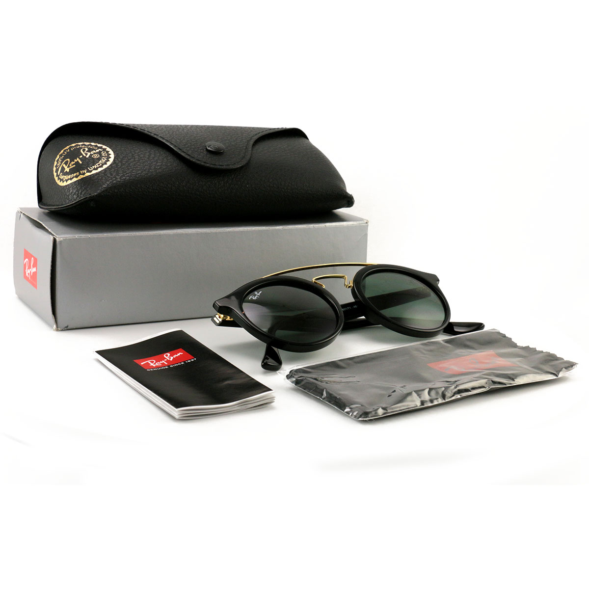6a9b9ff520e Details about Ray Ban Men´s Sunglasses RB4256 601 Black Gold 46 20 145 Dark  Green Lenses